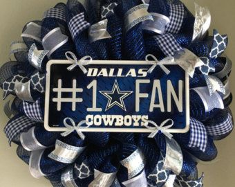 Dallas Cowboys Football Sports Texas Mesh Wreath Welcome Door