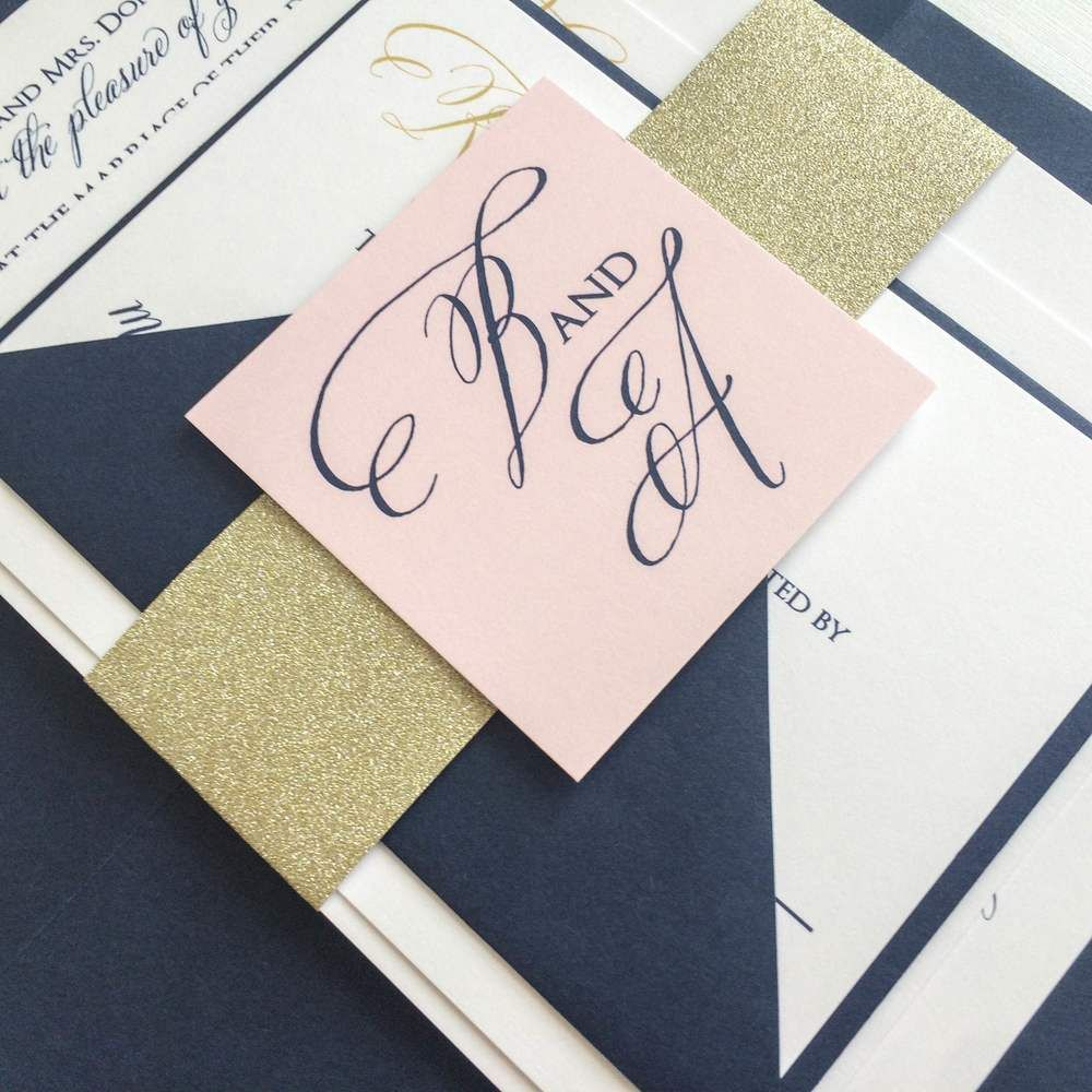 navy blush suit wedding gold navy blush wedding invitation for a kentucky bride - Navy And Gold Wedding Invitations