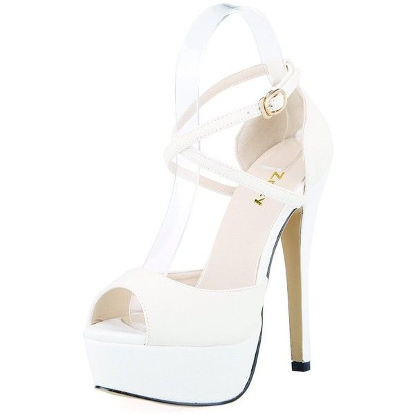 9decab311e06b Amazon.com | ZriEy Womens Peep Toe Strappy Platform Stiletto Ladies...  ($24) ❤ liked on Polyvore featuring shoes, sandals, wide sandals, white  shoes, ...