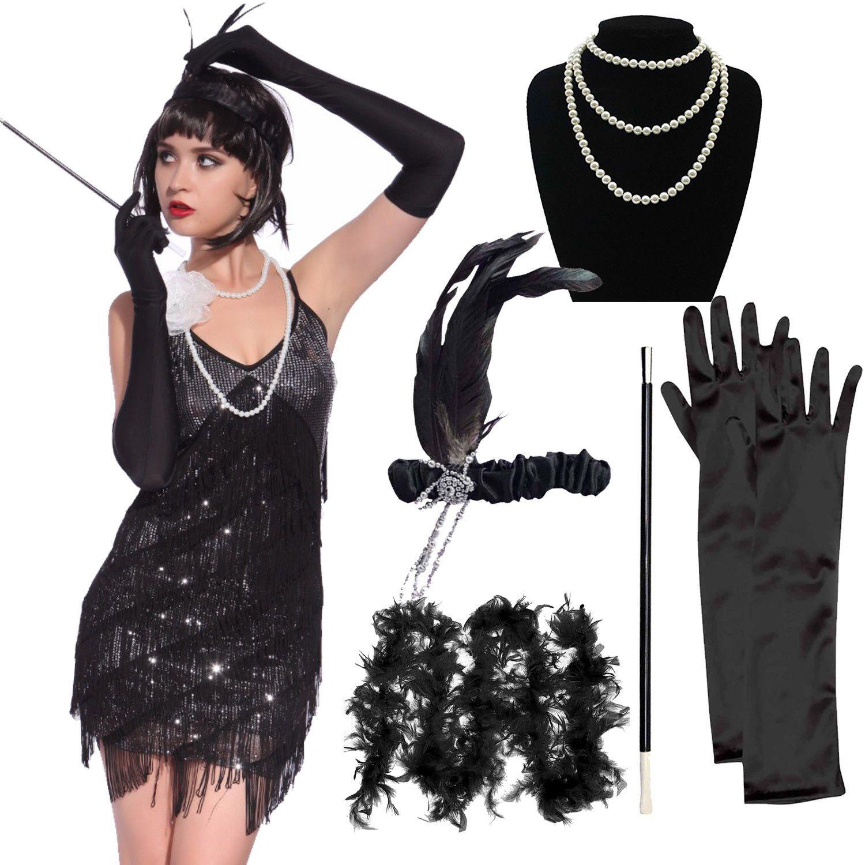 Ladies Gatsby Flapper Costume Accessori 20s CHARLESTON Costume OUTFIT