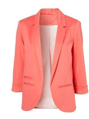 Pink Boyfriend Ponte Rolled Sleeves Blazer US$38.99