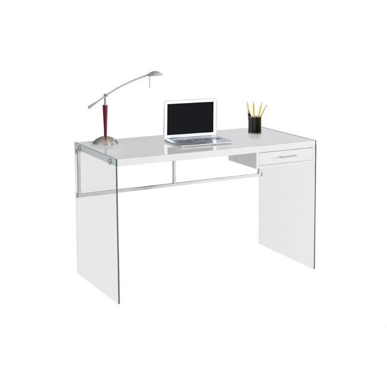 Monarch 48 Computer Desk In Glossy White Chic Writing Desk