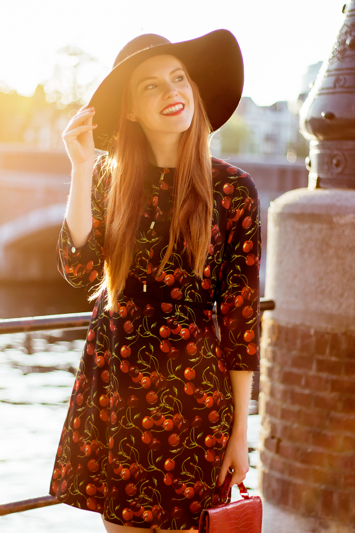 Ted Baker Cherry Dress Outfit with Floppy Hat  1e581da6214