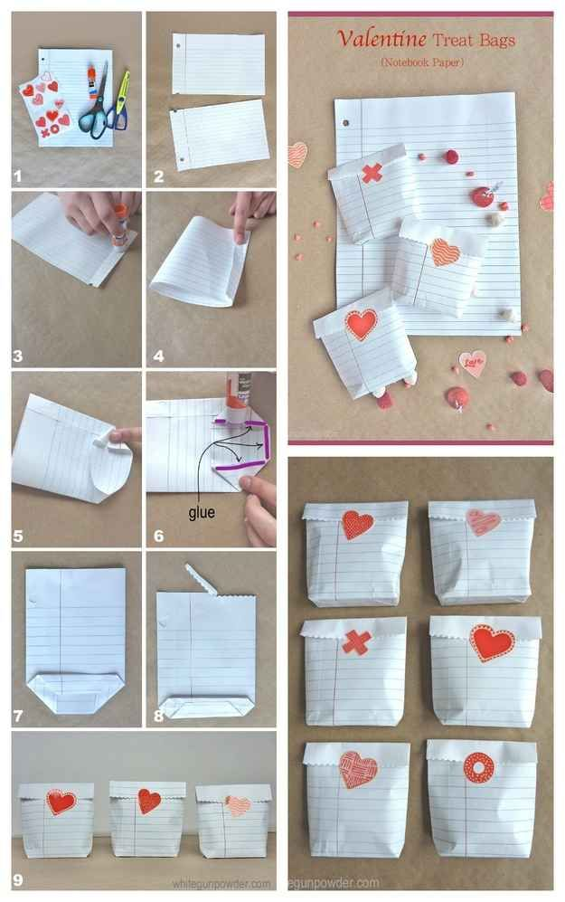 Notebook Paper Treat Bags Valentine S Day Diy Valentines Diy Diy Valentines Day Gifts For Him