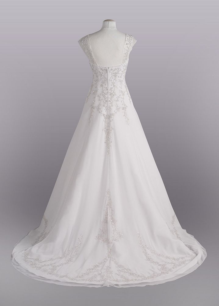 99643dfbf13d A-line with Chiffon Split Front Overlay Style AI10041587, White, 12 ...