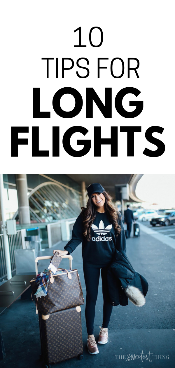 What I wore traveling home from Paris. 10 tips for long flights. How I endure the long flights, how we schedule flights, how I traveled pregnant & sick, etc. so Ithought I'd share 10 of my personal tips for long flights as well as answer those questions! Emily Gemma, The Sweetest Thing Blog #TheSweetestThingBlog #travelblogger #travelstyle #traveloutfit #traveltips #EmilyGemma
