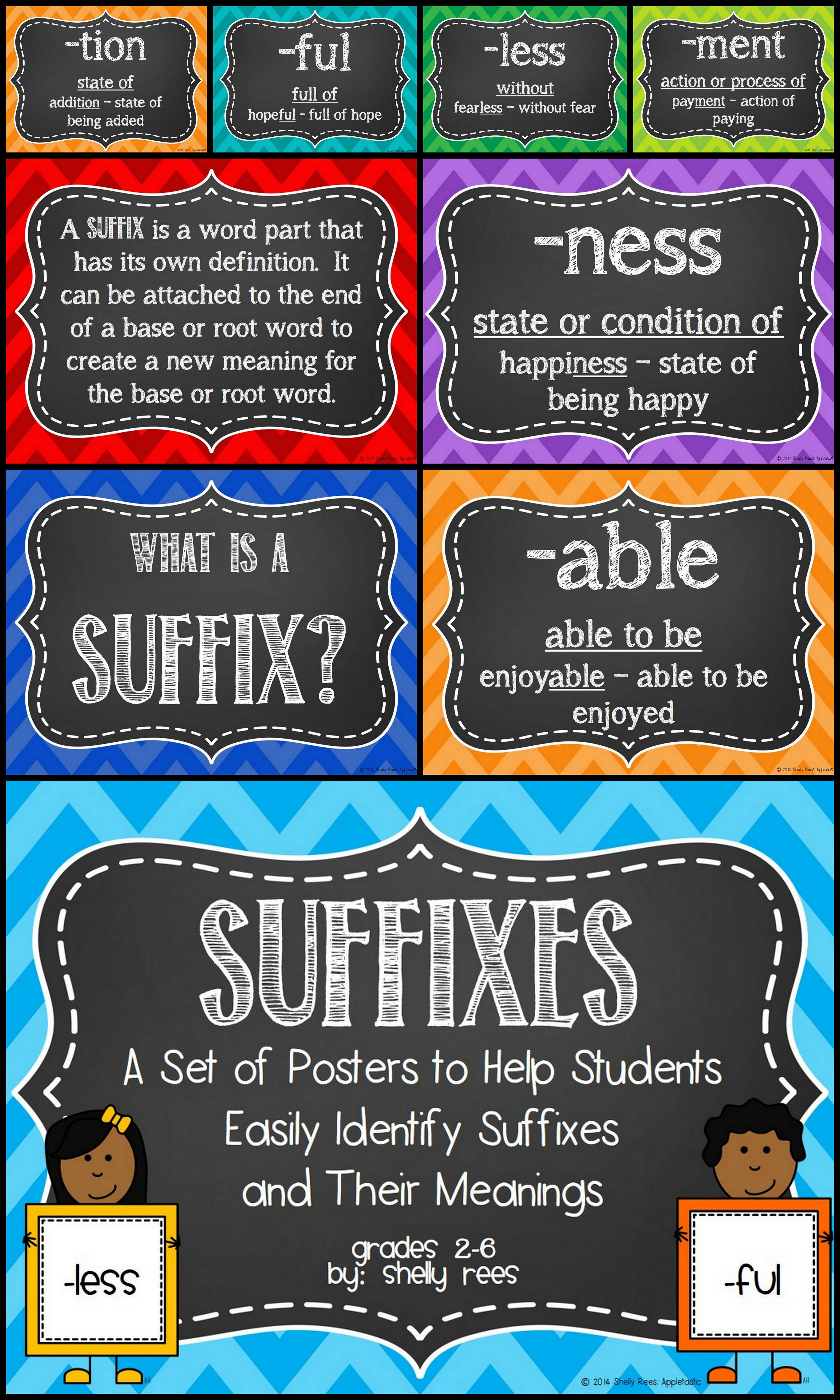 Suffixes And Meanings Posters And Guide Sheet