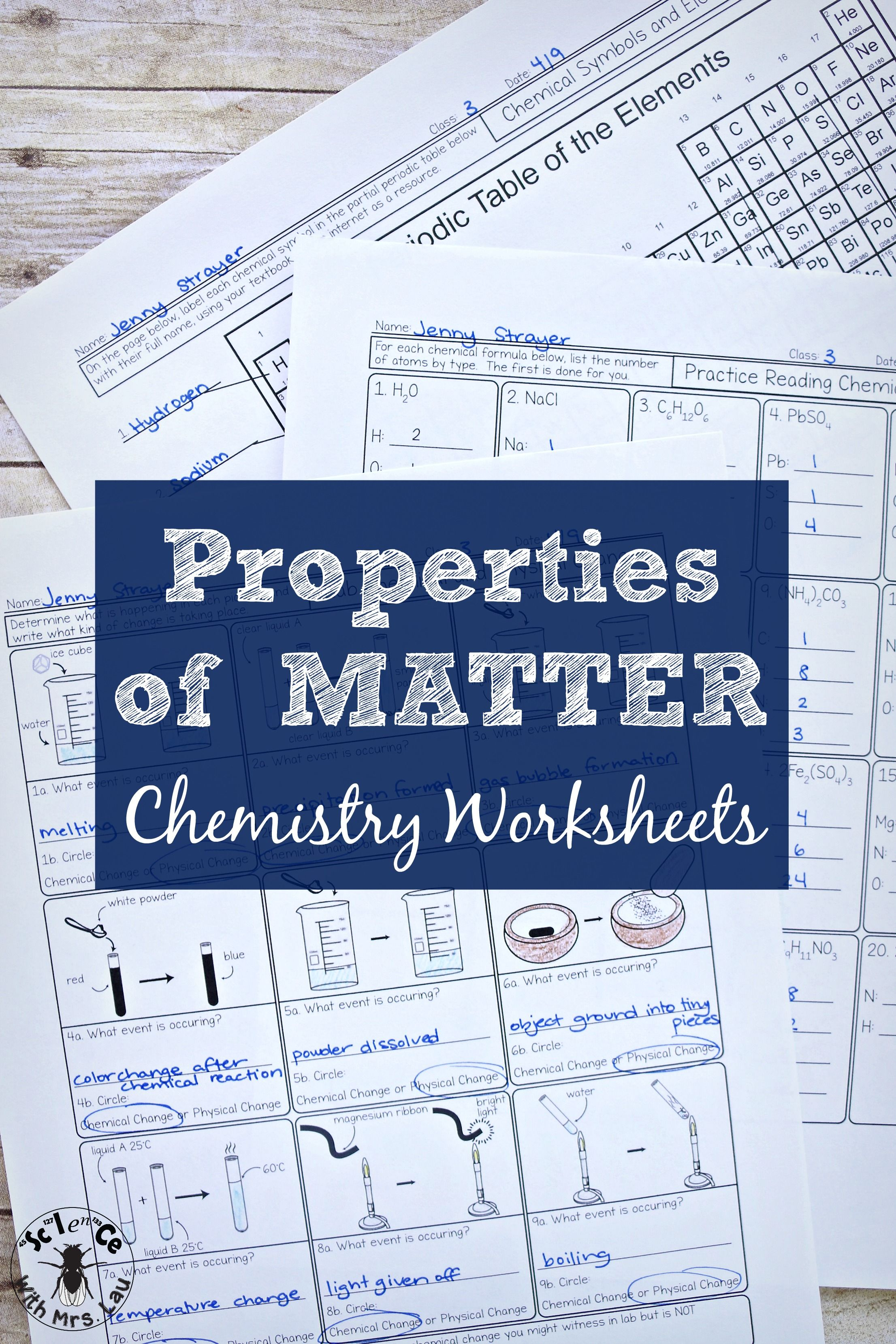 Properties Of Matter Chemistry Homework Unit Bundle