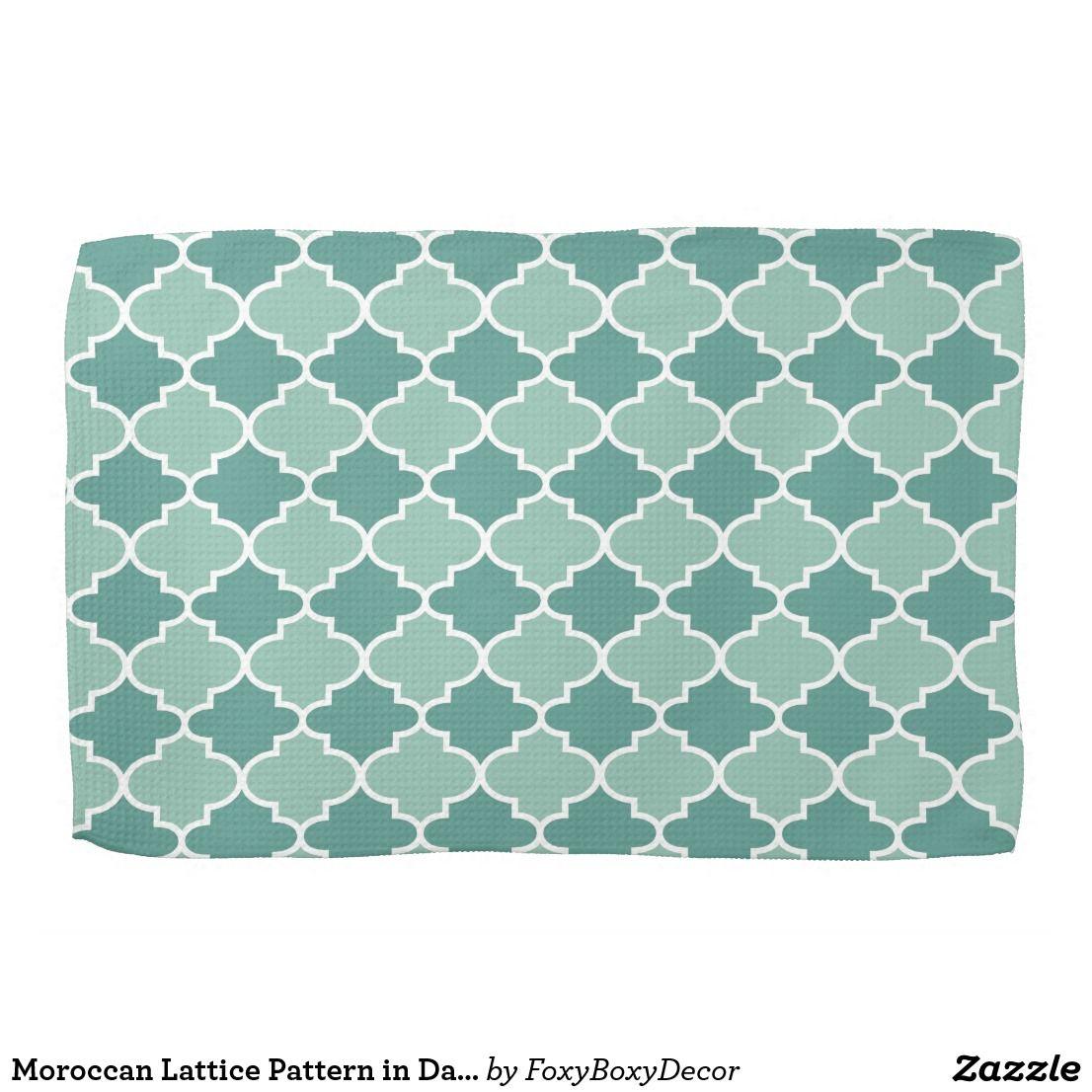 Moroccan Lattice Pattern in Dark and Light Blue Hand Towel   Blue ...