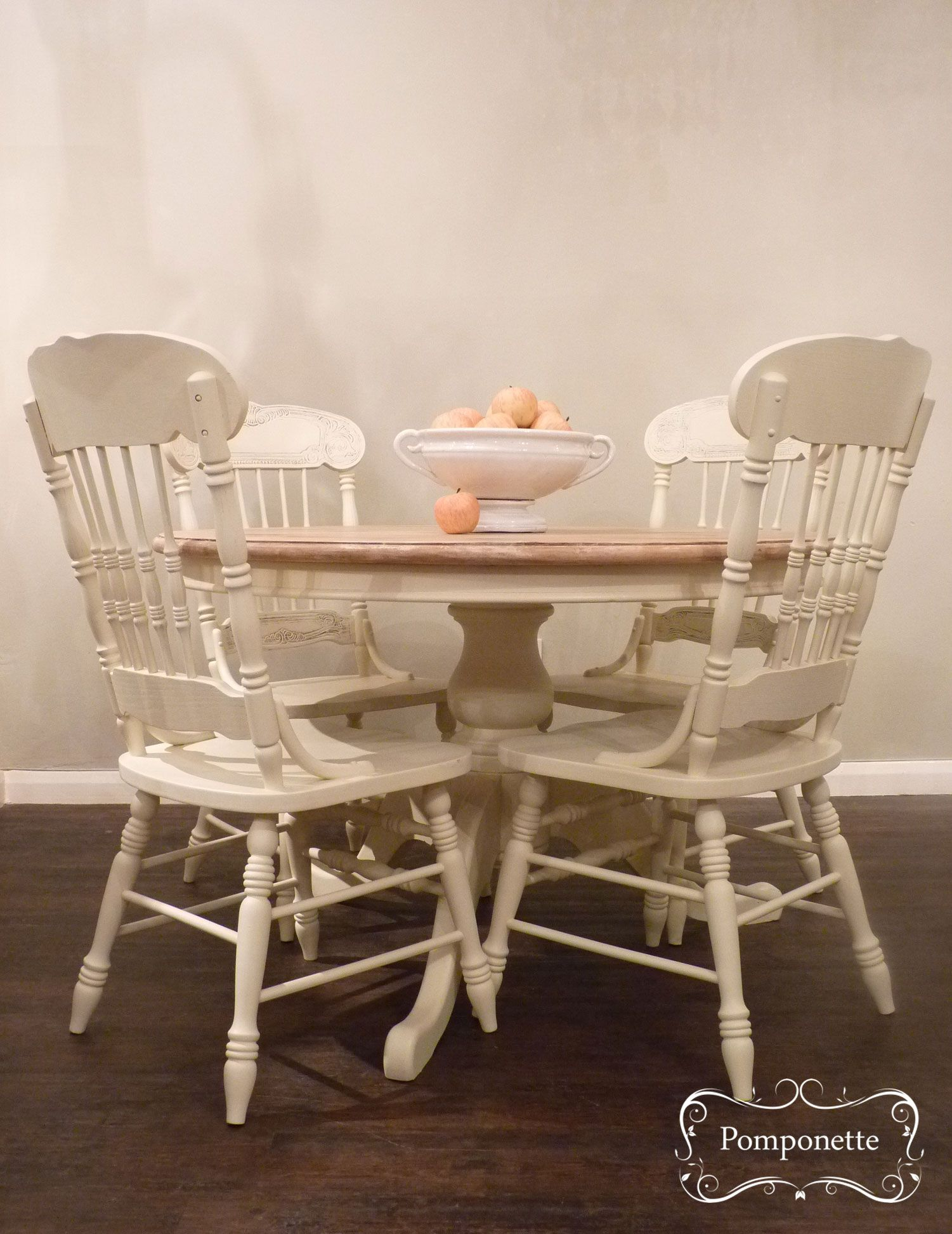Round Pedestal Dining Table Four Chairs Chalk PaintTM By Annie Sloan Stockists Trainers Vintage Painted Furniture For Sale At Pomponette Leicester
