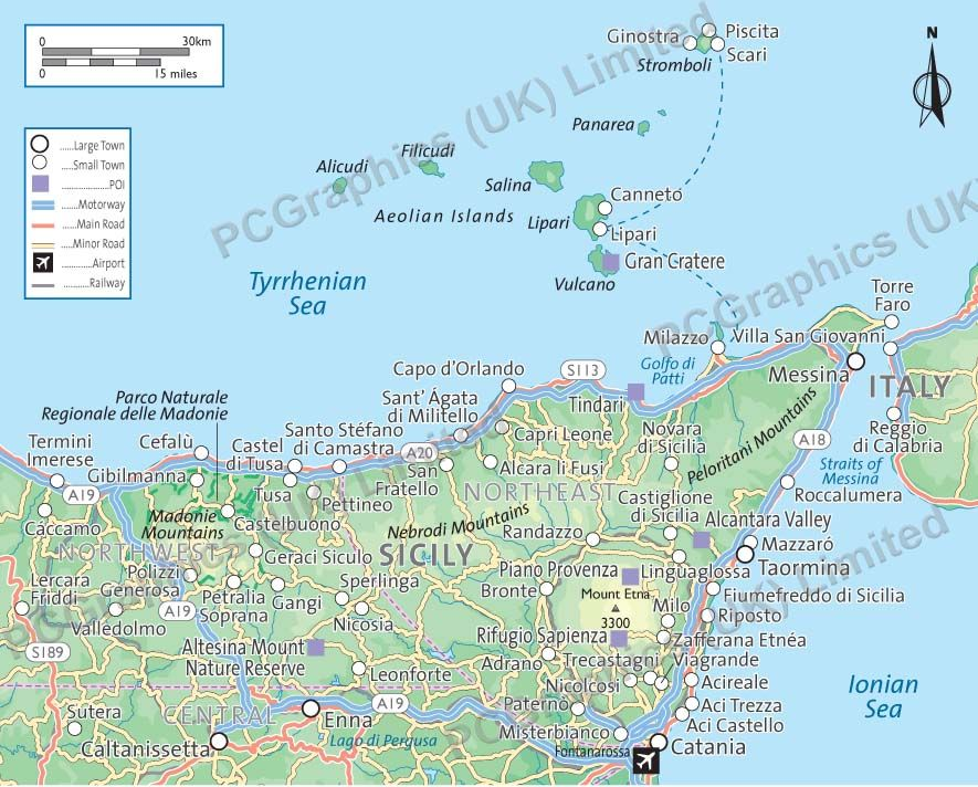 Map of north east Sicily produced by PCGraphics See more of our