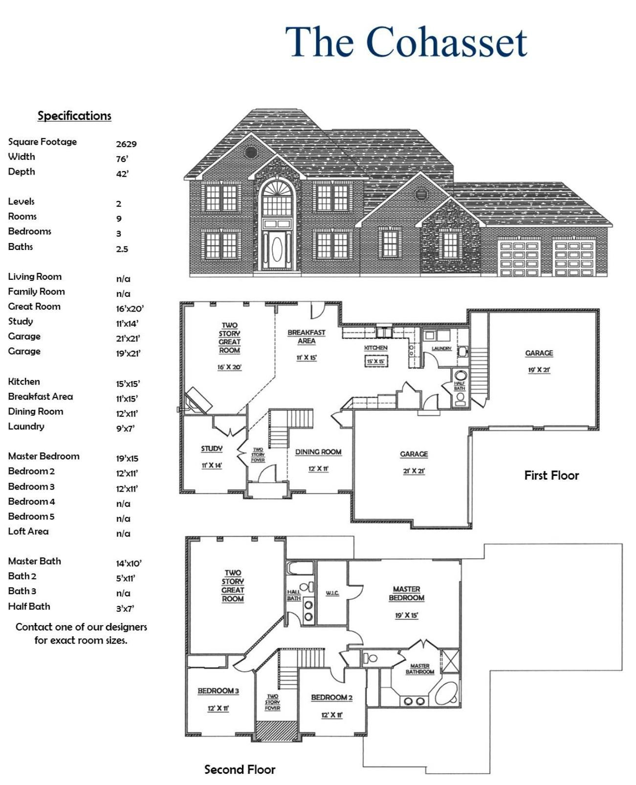 Two Story 3 Bedroom 2.5 Bath House floor plans, Family