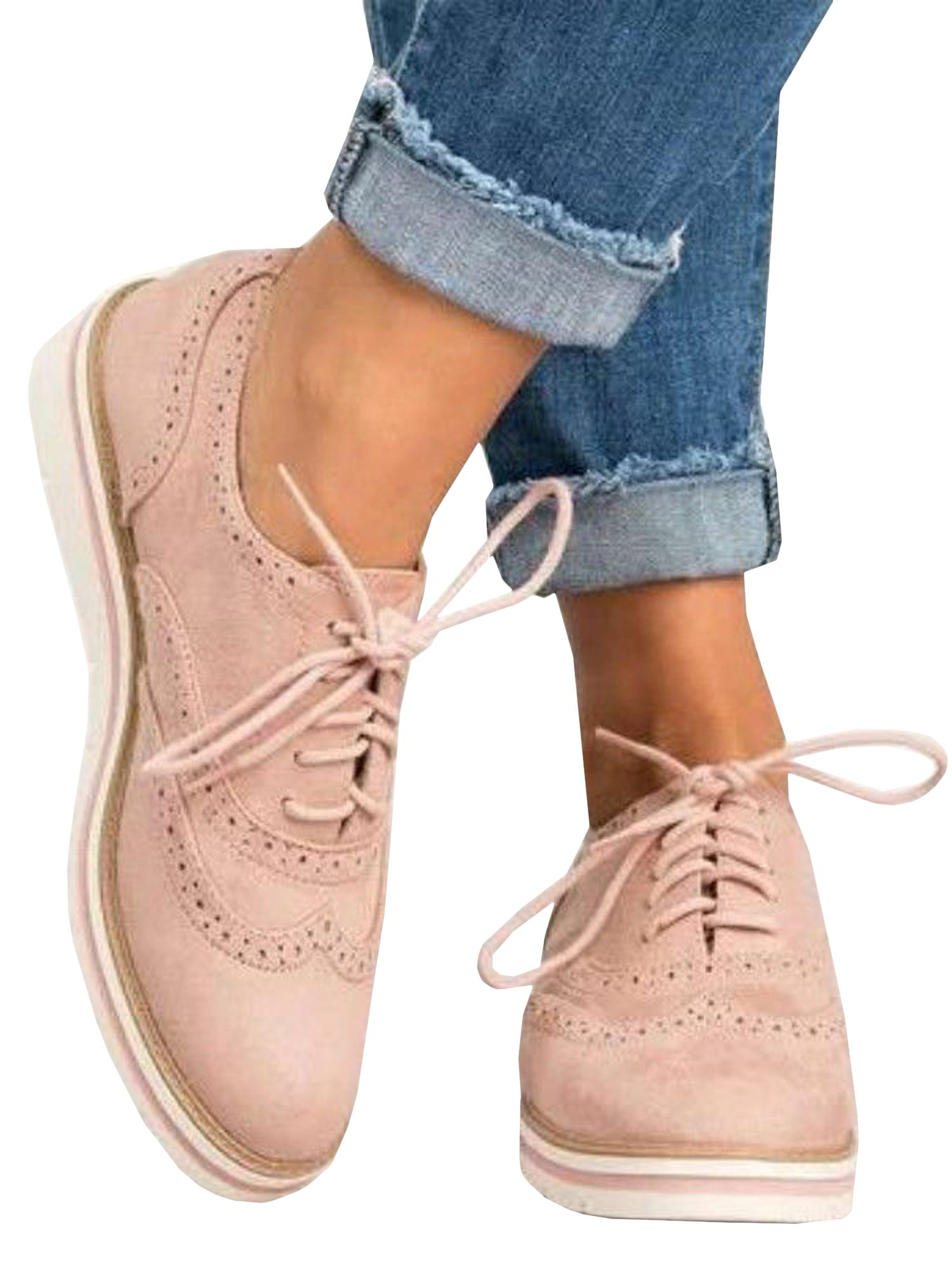 Lallc Women S Oxfords Lace Up Flat Smart Work Sports Brogue Trainers Casual Shoes Walmart Com In 2021 Casual Shoes Women Lace Up Shoes Women Shoes [ 2000 x 1500 Pixel ]
