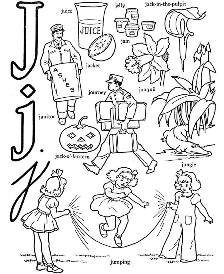 Alphabet Coloring Page Words Of J Printable Alphabet Coloring Pages Coloring Pages Alphabet Words