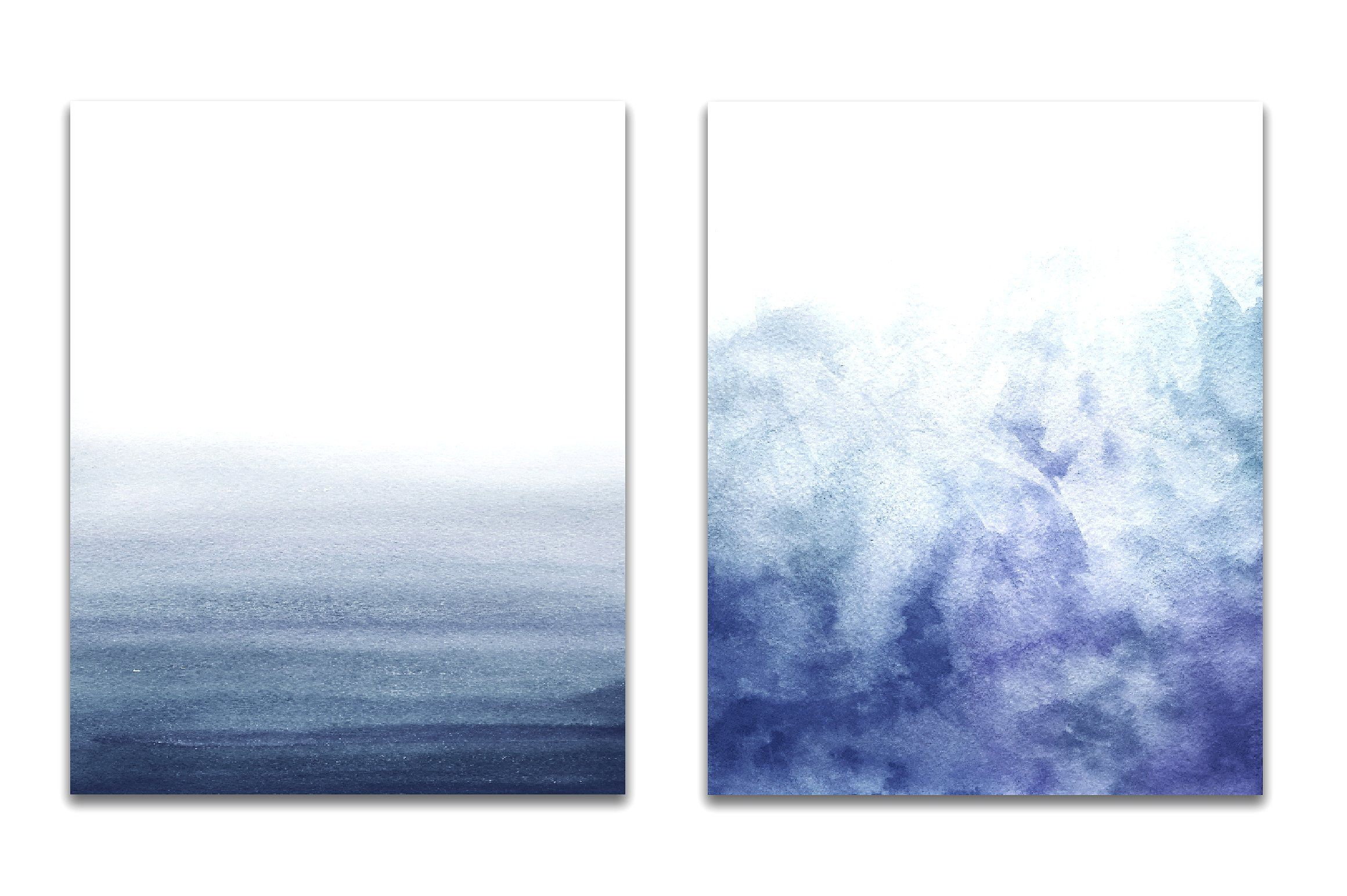 Navy Blue ombre watercolor by GraphicRain on