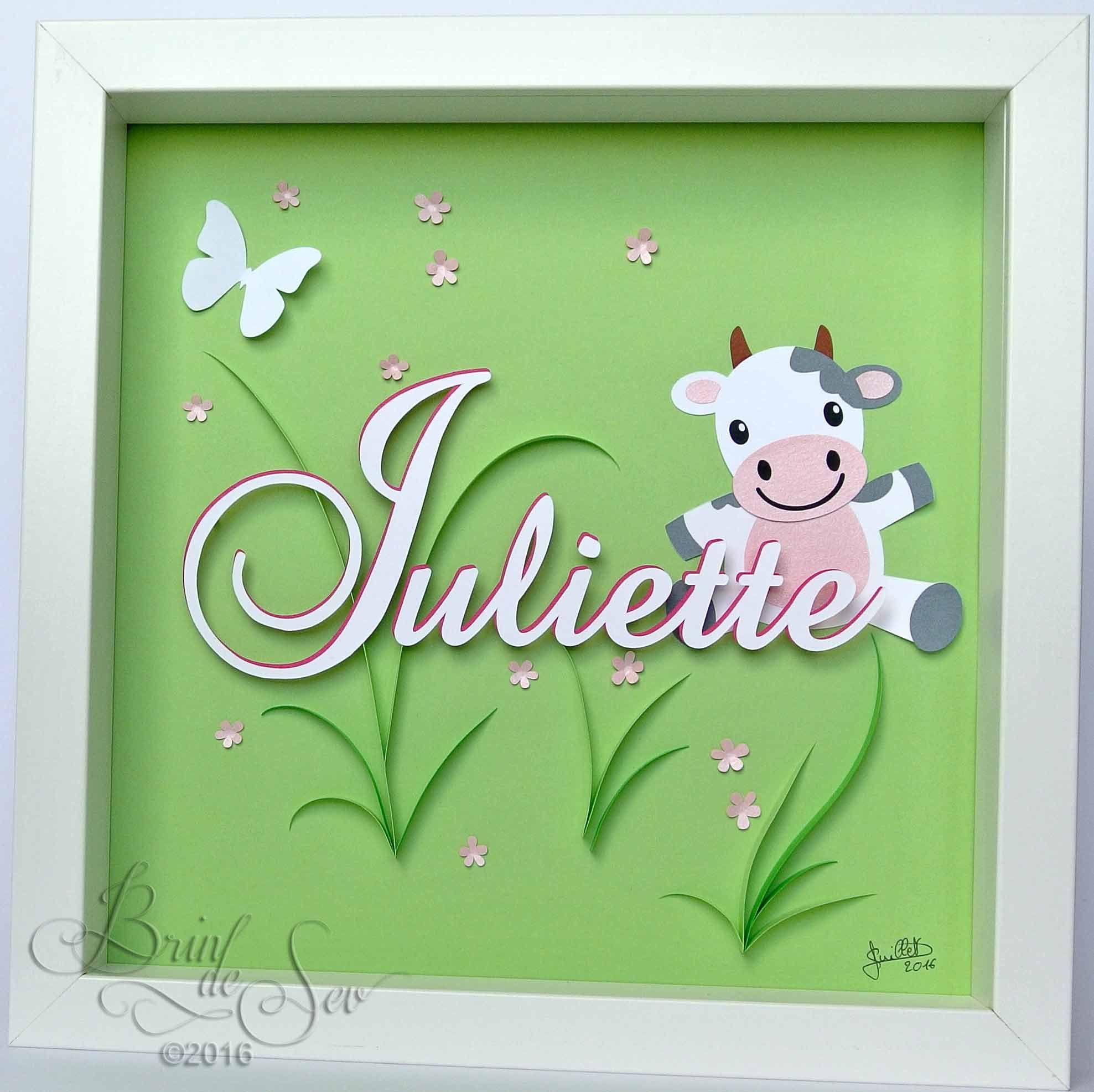 cadeau de naissance personnalis en quilling pour juliette une petite vache comme un clin d. Black Bedroom Furniture Sets. Home Design Ideas
