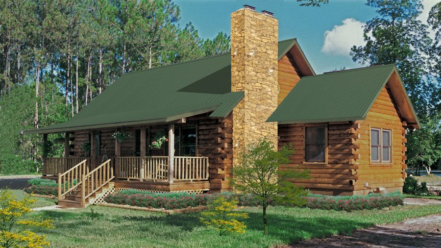 The 1267 Sq Ft Rose Hill Log Cabin Floor Plan Features A Great Designated Fireplace Area In The Great R Small Log Cabin Plans Log Homes Log Cabin Floor Plans