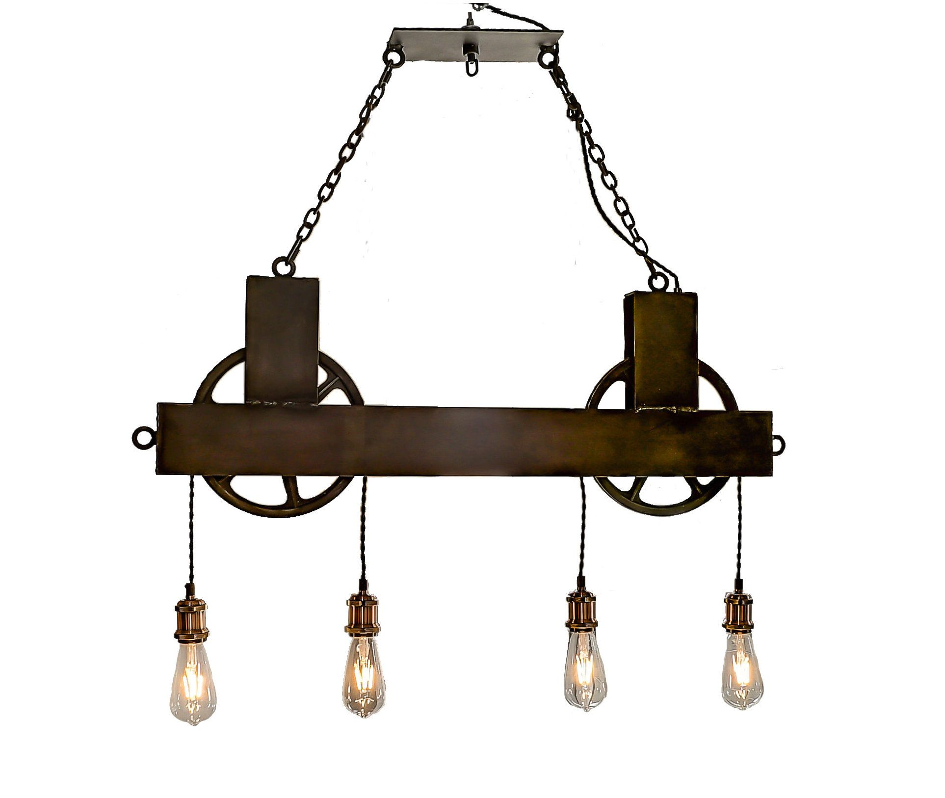 4 Light Dual Pulley Chandelier Black Steel Wheels Free Shipping Rustic Chandelier Lighting Steel Chandelier Dining Chandelier Rustic Chandelier Rustic Chandelier Lighting Dining Chandelier