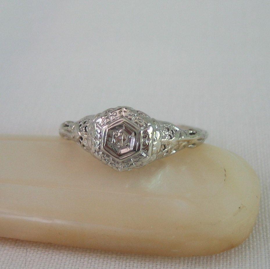 Vintage diamond ring filigree art deco engagement ring circa s