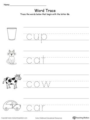 Trace Words That Begin With Letter Sound: C | Activities, Fine ...