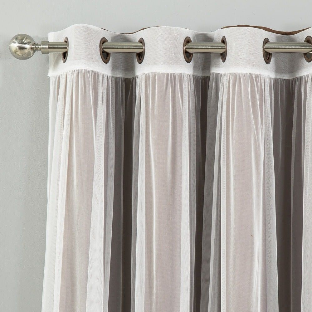 Aurora home mix and match curtains blackout tulle lace sheer bronze