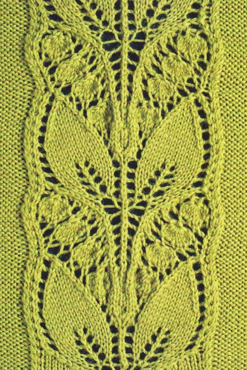 Leafy Knitted Lace Panel | Leaves, Stitch and Knitting stitches