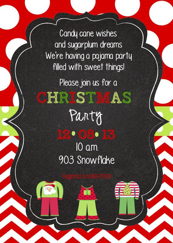 Christmas Pajama Party Invitationdigital printable by stickerchic ...