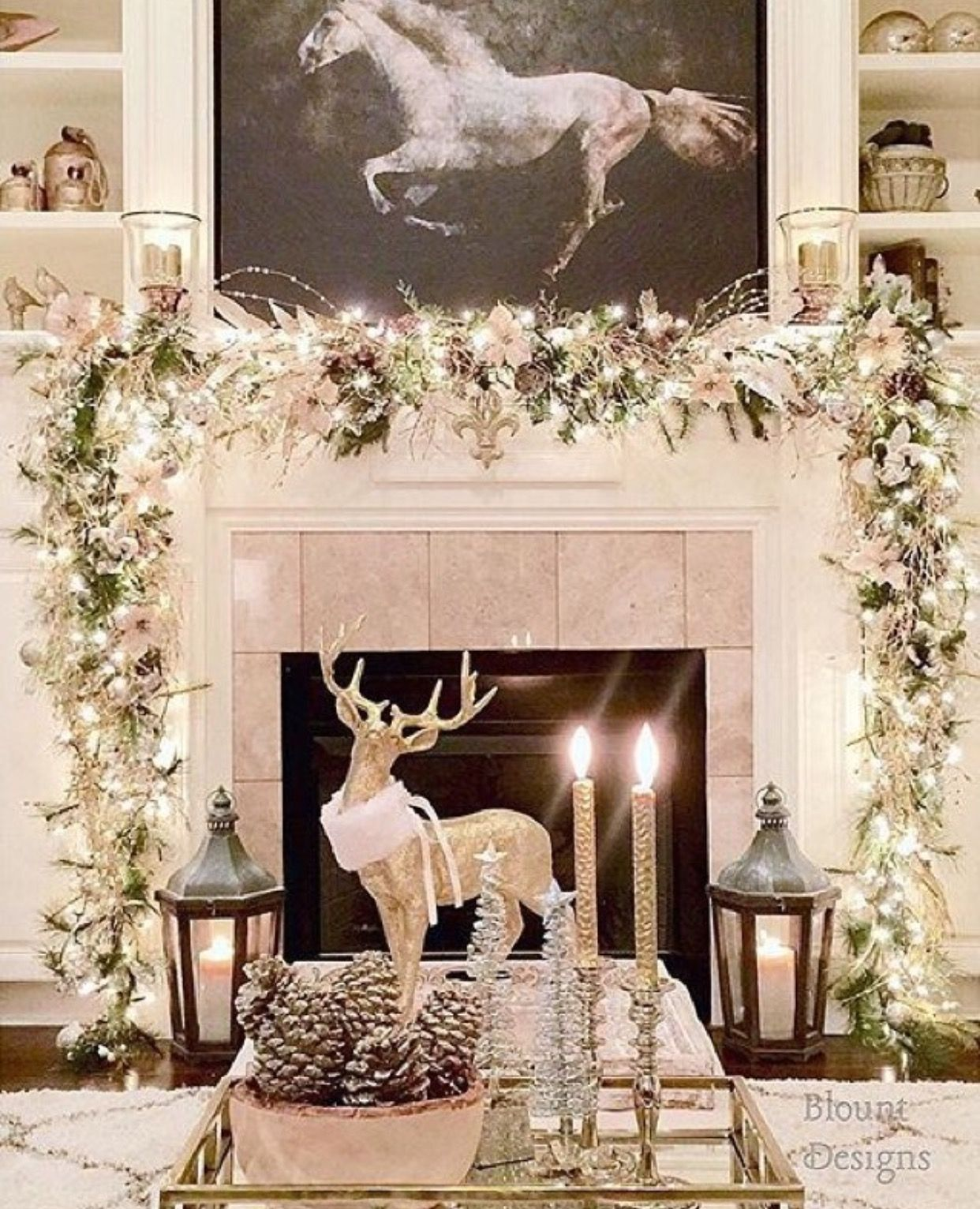 Admirable Beautiful White Christmas Mantle Love The Deer With The Download Free Architecture Designs Scobabritishbridgeorg