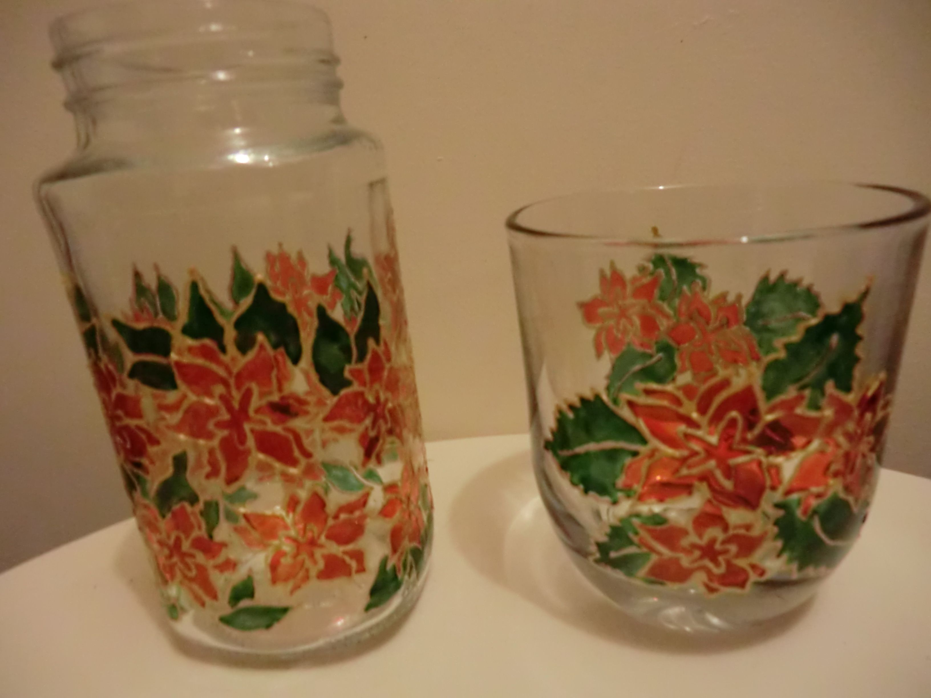Poinsetta - Painted Jar and Glass