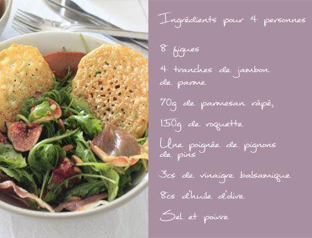 Wonderwall: Salade de roquette, figues, chips de jambon de parme et tuiles de parmesan