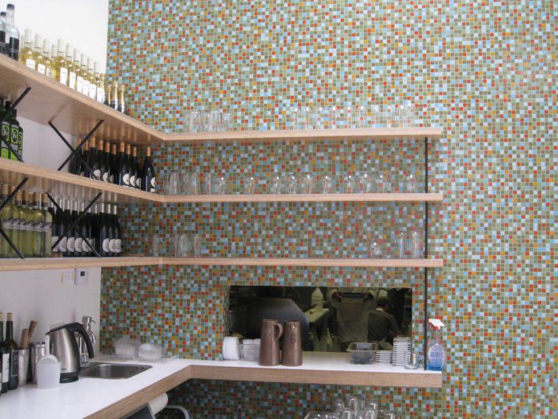 Mosaic tile blend green, blue and orange glass tile. Great for kitchen backsplash, bathroom, floor, pool tile.