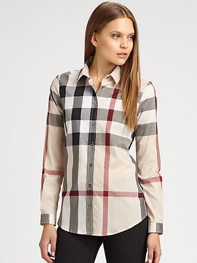 b86a7e71b476 Burberry Cotton Check Blouse on shopstyle.com | Change Clothes and ...