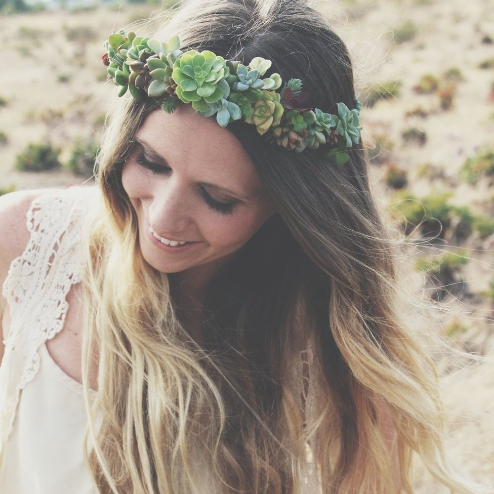 Diy succulent crown flower crowns crown and tutorials diy succulent crown izmirmasajfo Images