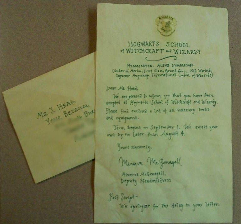 Hogwarts Acceptance Letter Used As A Cool Birthday Card How To