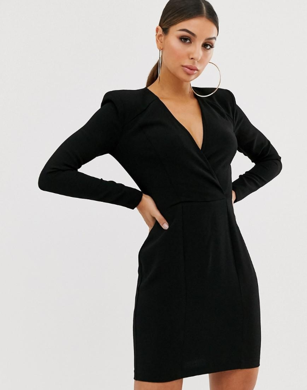 Missguided Dopasowana Mini Sukienka M 49 90 Zl Shoulder Pad Dress Mini Wrap Dress Shoulder Pads Fashion