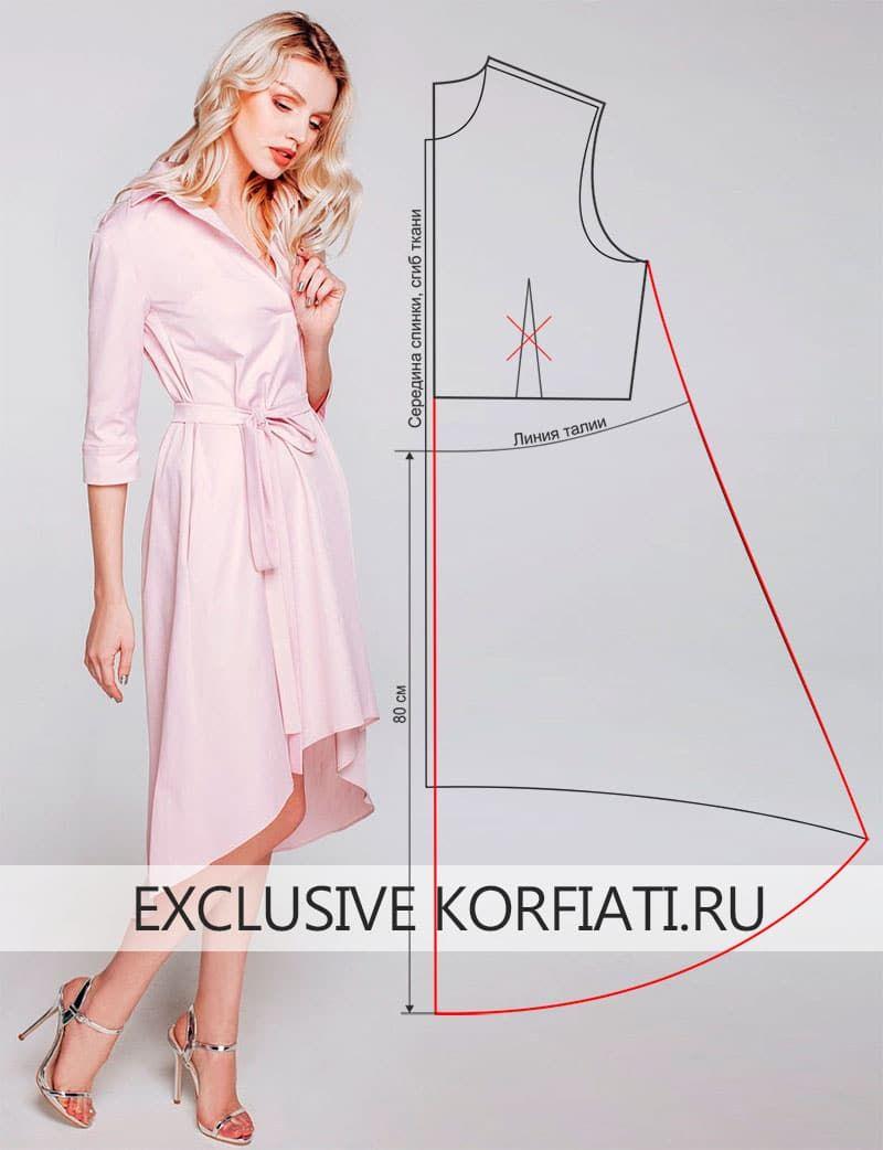 Выкройка платья с асимметричным подолом от Анастасии Корфиати ...