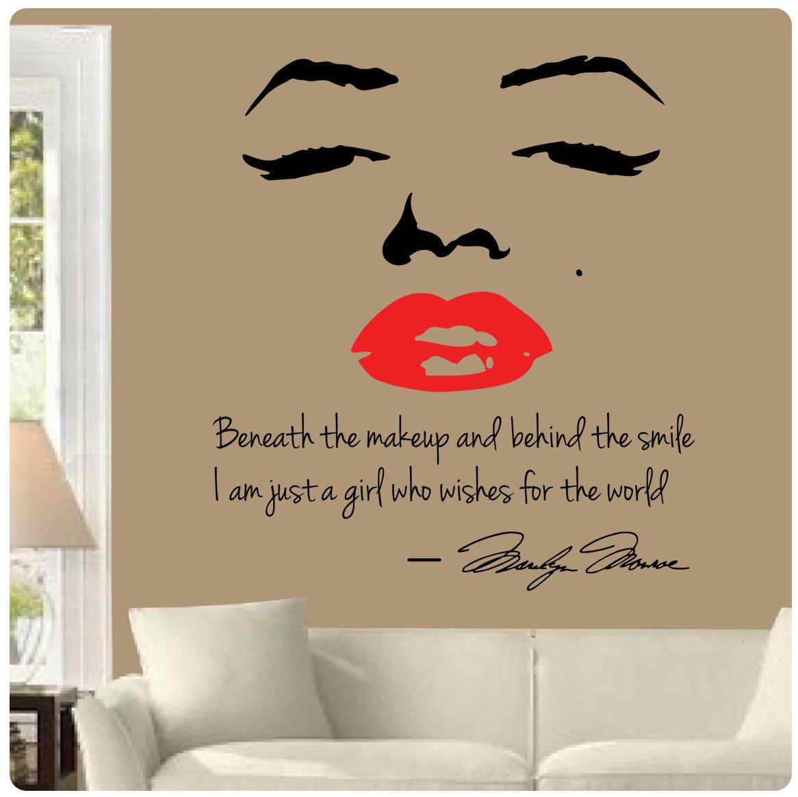 Marilyn Monroe Red Lips Wall Decal Beneath The Makeup Behind Smile