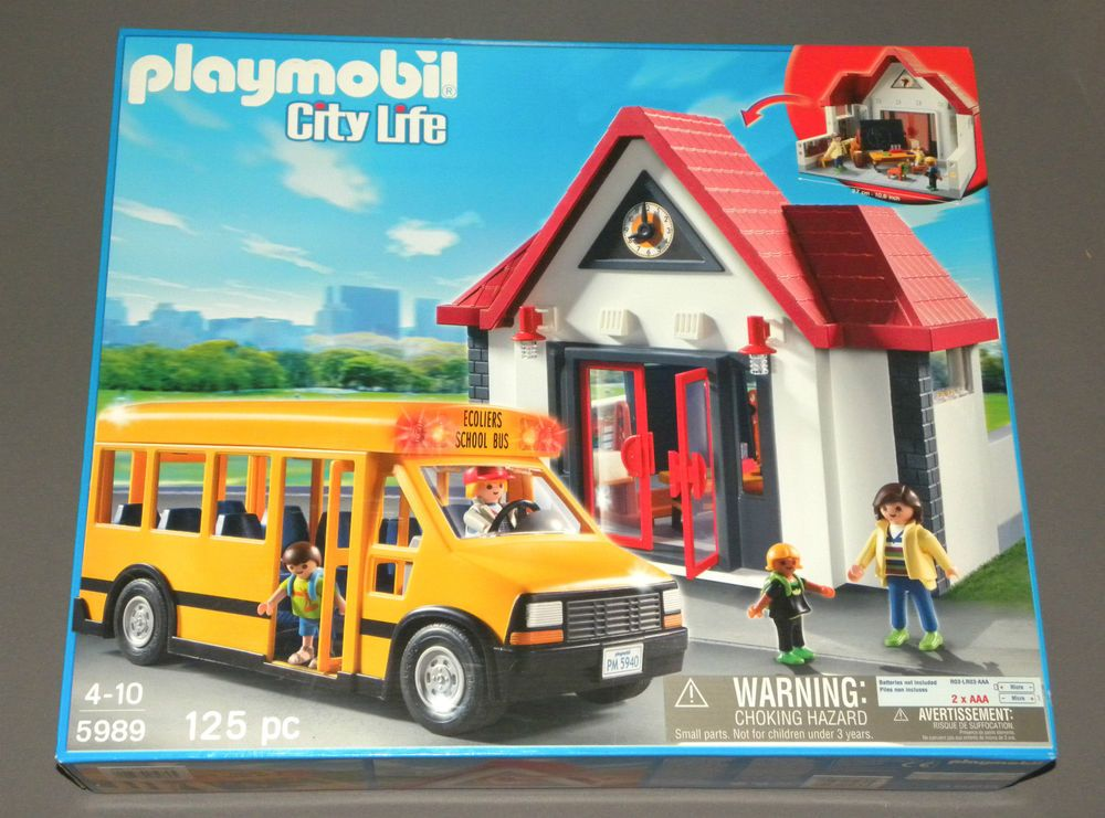 playmobil city life 5989 construction toy set school bus. Black Bedroom Furniture Sets. Home Design Ideas