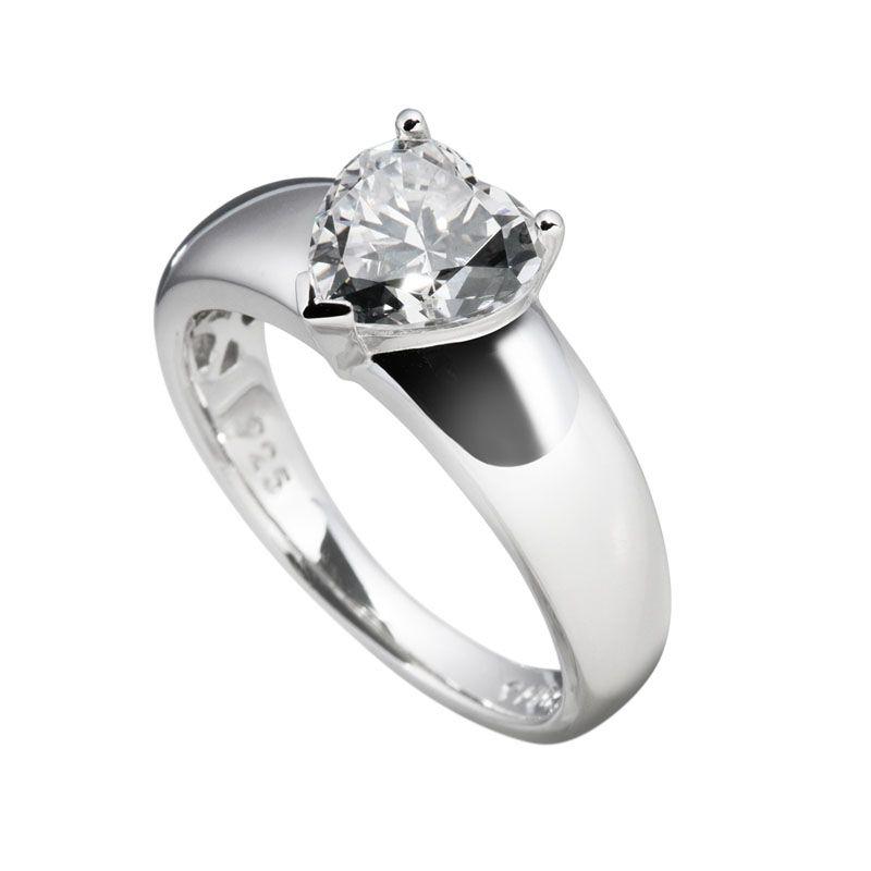 Herz-Ring silber mit weißem Diamonfire-Zirkonia   Ringe   SALE   Diamonfire