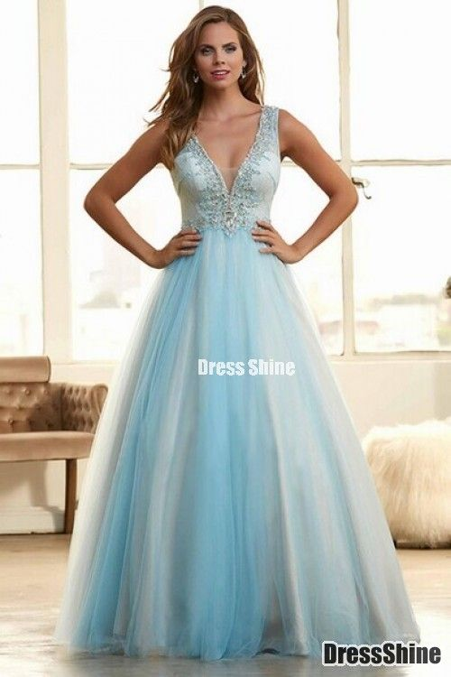 2015 Deep V-Neck A-Line Tulle Lace Blue Prom Gown With Beading Floor-Length #promdress