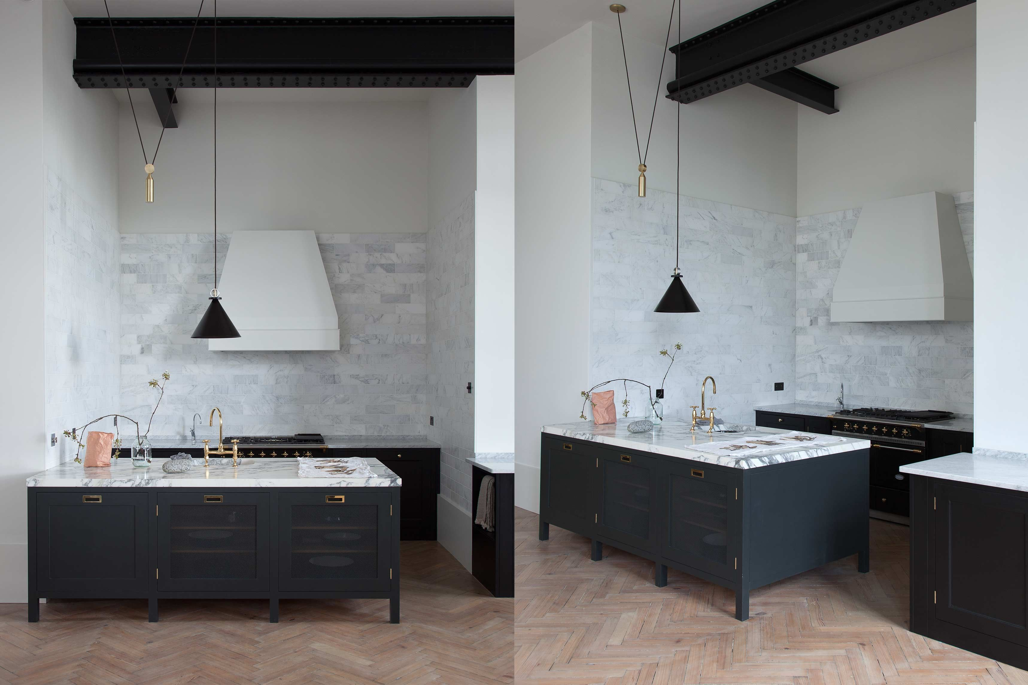 Black distressed wood kitchen with marble countertops | Kitchens ...