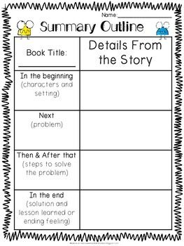 Summary Sheet and Retell Organizer Freebie!