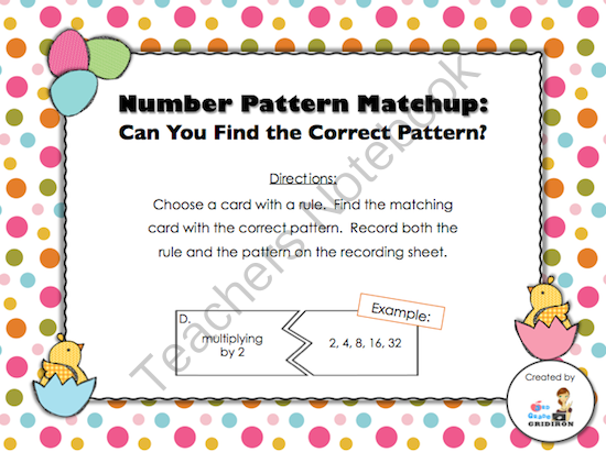 FREE Number Patterns Matchup (Countdown to Christmas - Day 13) from 3rd Grade Gridiron on TeachersNotebook.com (7 pages)  - This 7-page activity is a fun way for your students to practice number patterns and rules that create them.  This center is set up in a puzzle format.  They will match the rule to the correct sequence of numbers.