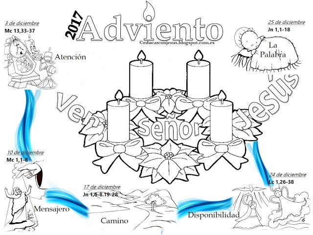 Educar con Jesús: Calendario de Adviento 2017 (ciclo B) con corona ...