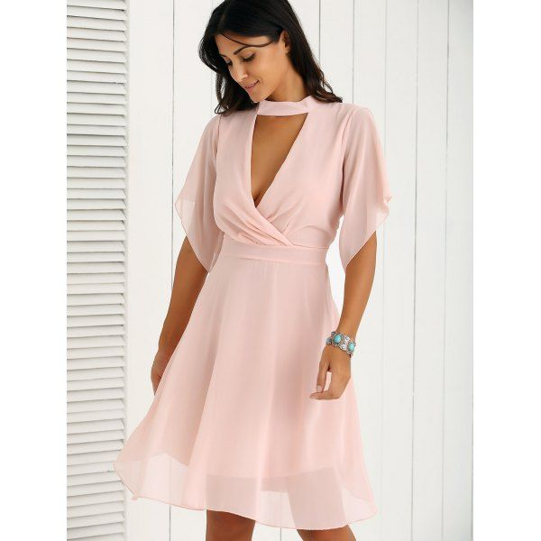 718c3f16dde Petal Sleeve Knee Length Chiffon Pastel Pleated Dress - Pink Xl Mobile