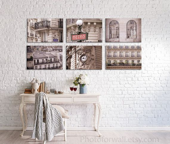 Paris Photography Set Of 6 Canvas Art Gift For Her Mother Shabby