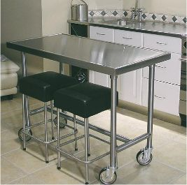 Center Kitchen Table | Flat Top Only Available Choice Of Stainless Steel  Rear Bar, Center
