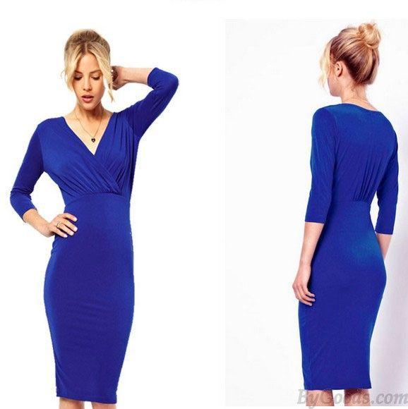 Einzigartige V-Ausschnitt Falten Schlank-Hülsen-Kleid-Partei-Kleid only $25 in ByGoods.com!
