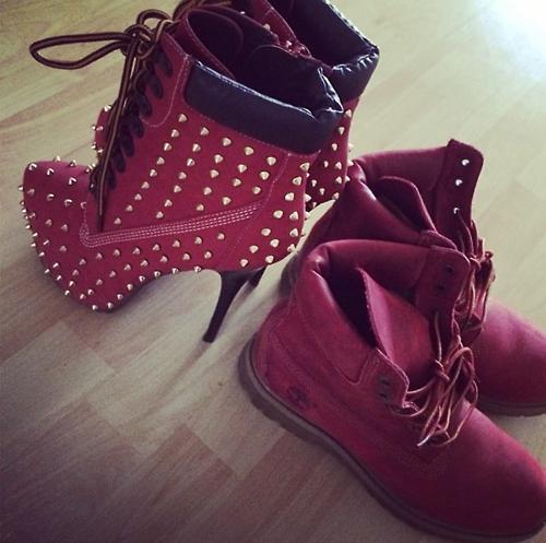 red timberland heels