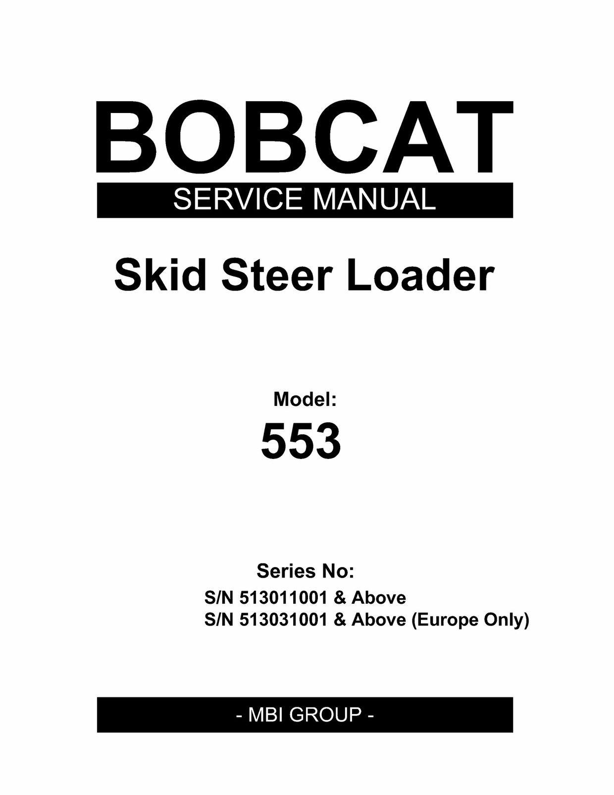 pdf download bobcat 553 skid steer loader service repair manual s n rh pinterest com bobcat 553 service manual free download bobcat 553 service manual free download